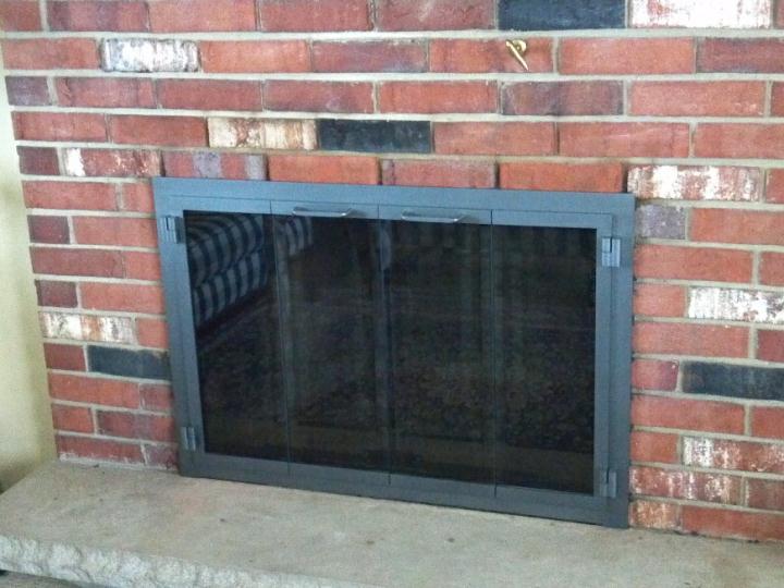 Vintage Iron  Fullfold  Bronze Beveled Glass   Mesh Doors  doors. Portland Fireplace Doors. Home Design Ideas